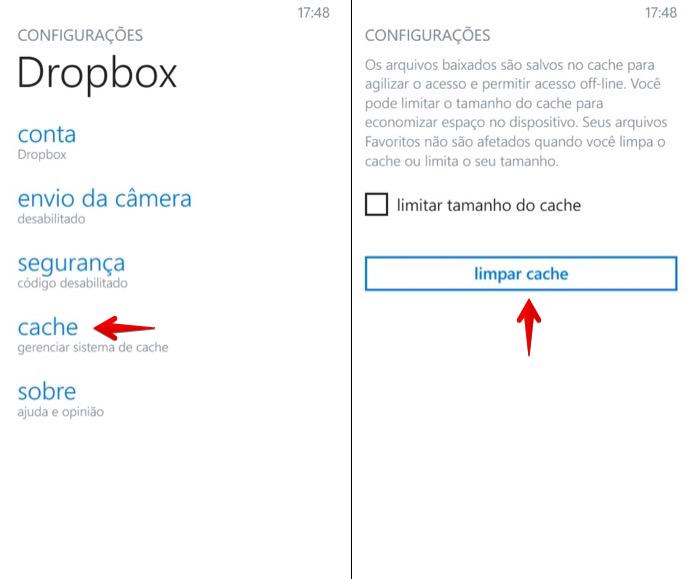 Limpando cache do Dropbox no Windows Phone (Foto: Reprodução/Helito Bijora)