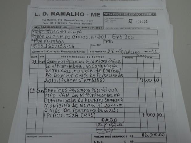 Nota fiscal da LD Ramalho para aluguel de veículos (Foto: Reprodução/Arquivo pessoal)
