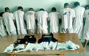 Presos beneficiários do saidão que tentaram entrar em unidades prisionais do DF com maconha no estômago (Foto: Sesipe/Divulgação)