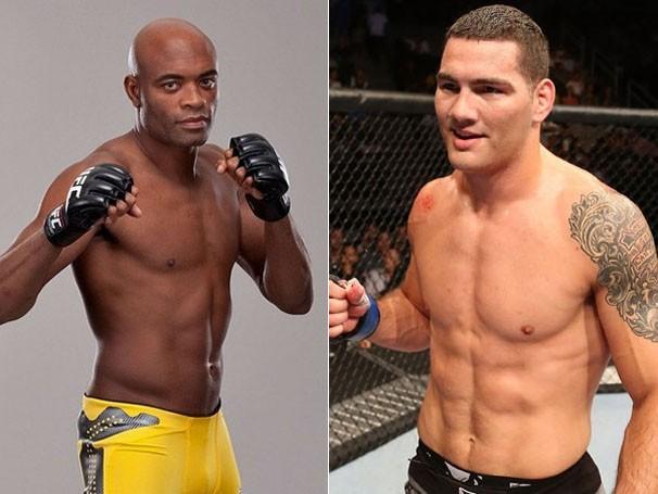 Anderson Silva defende o cinturão em luta contra Chris Weidman (Foto: Getty Images/Reprodução: Globoesporte.com)