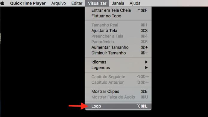 Ativando o modo loop do Quicktime no Mac OS (Foto: Reprodução/Marvin Costa)