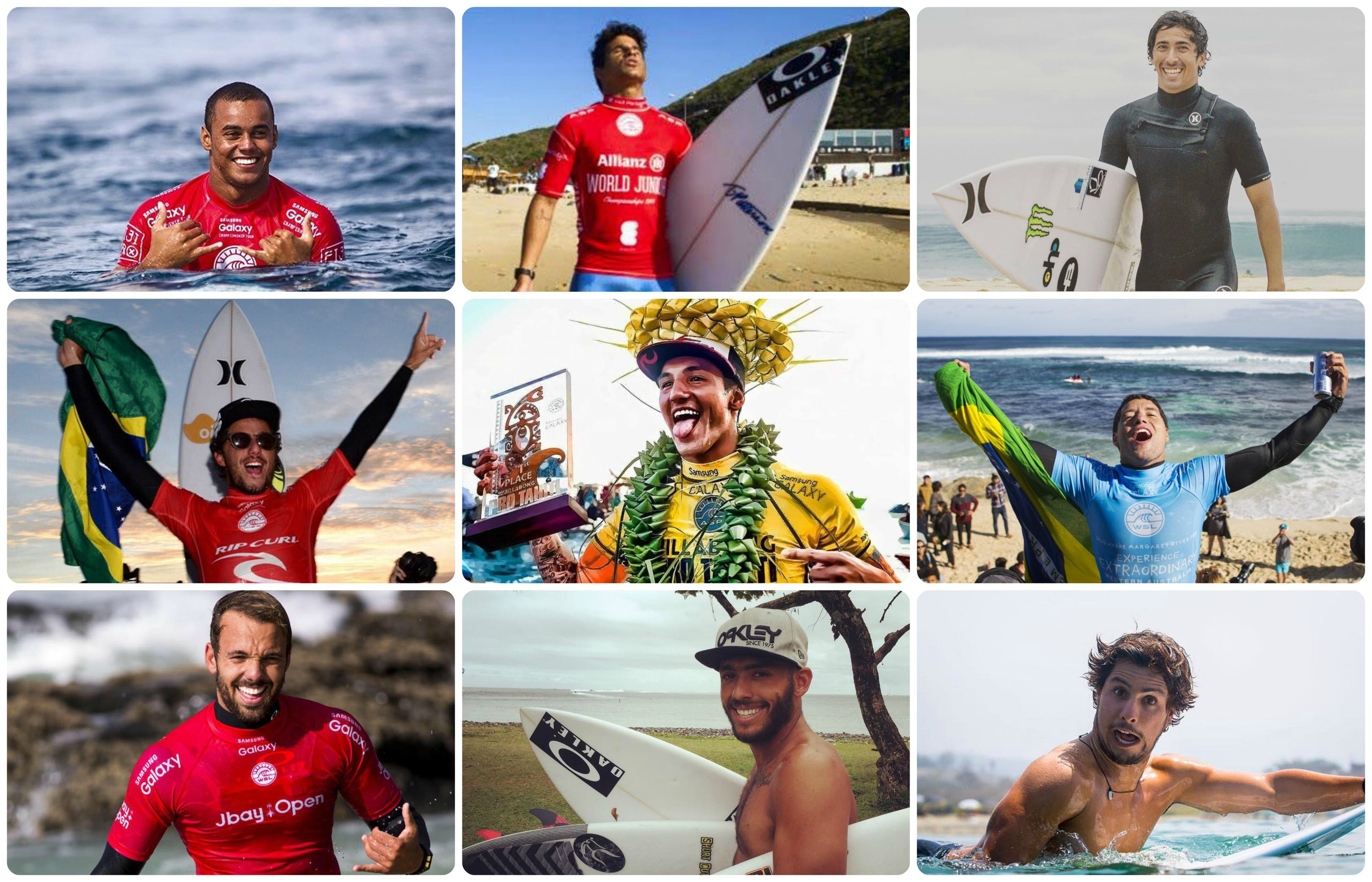 Os nove brasileiros que se classificaram para a elite do surfe mundial em 2017 (Foto: Reproduo)