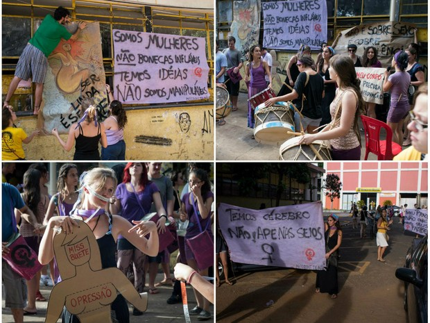 Protesto feminista terminou em confusão no campus da USP de São Carlos (Foto: Divulgação/Frente Feminista)