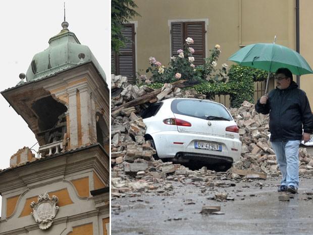 Torre de igreja foi danificada em Ferrara e carros foram soterrado em Finale Emilia (Foto: Marco Vasini/AP)
