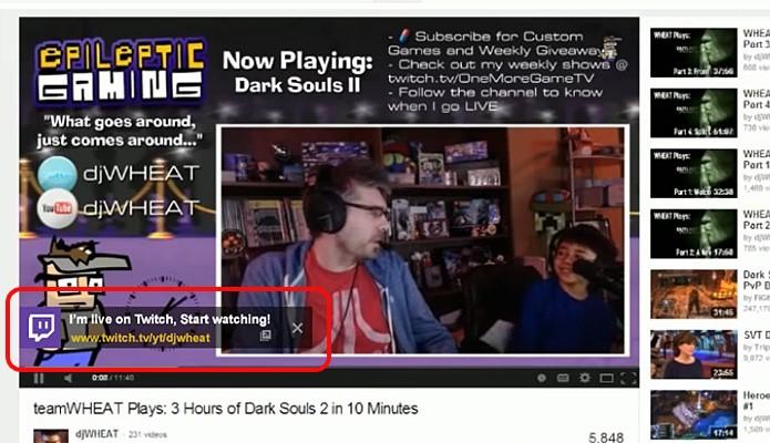 YouTube passa a receber alertas do Twitch sempre que gamer iniciar streaming online (Foto: Reprodução/YouTube)