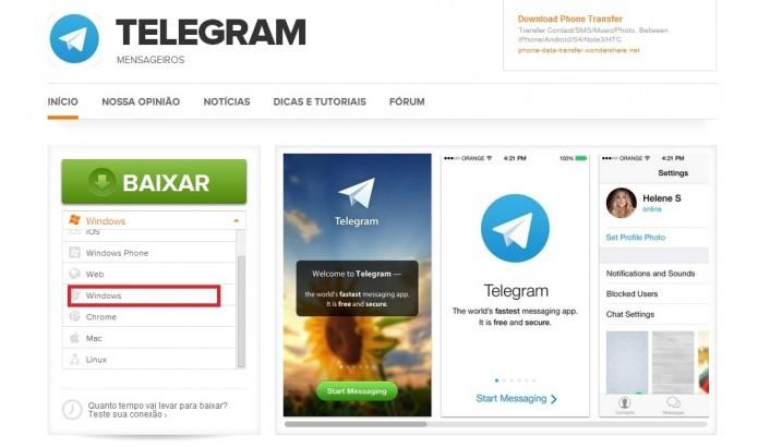 Faça o download de Telegram for Desktop (Reprodução/Taysa Coelho)
