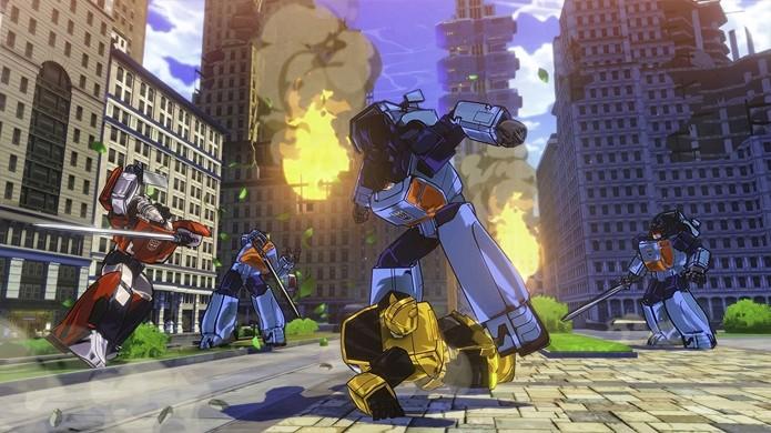 Aqui vemos Sideswipe e Bumblebee lutando juntos, mas não foi mencionado um elemento multiplayer no game (Foto: Reprodução/Gematsu)