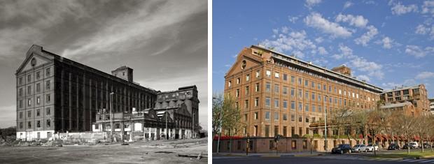 O exemplo da reabilitação de Puerto Madero: à esquerda, um depósito de grãos abandonado nos anos 1990 transforma-se, à direita, no hoje luxuoso Hotel Faena (Foto: Haroldo Castro/Época)