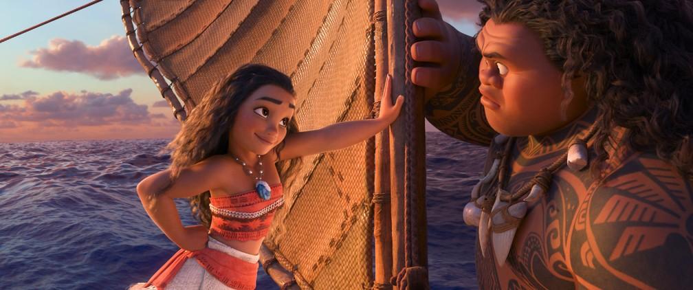 Moana e Maui em cena do filme (Foto: Divulgação)