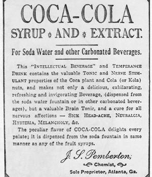 Uma das primeiras propagandas da Coca-Cola (Foto: Wikimedia Commons)