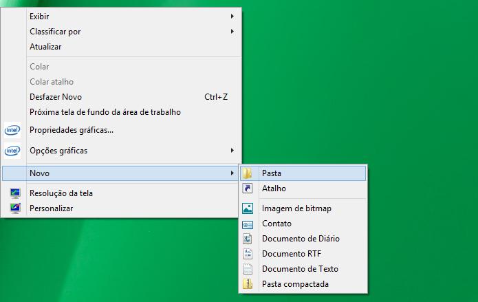 Criando uma nova pasta na área de trabalho do Windows 8 (Foto: Reprodução/Edivaldo Brito)