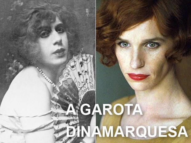 À esquerda, a transexual Lili Elbe em foto de 1926, e, à dir., Eddie Redmayne em 'A garota dinamarquesa' (Foto: The Wellcome Library, London e Divulgação)