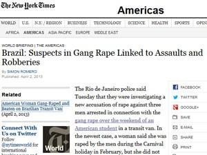 'New York Times' fala sobre caso de estupro em van no Rio de Janeiro (Foto: Reprodução/New York Times)