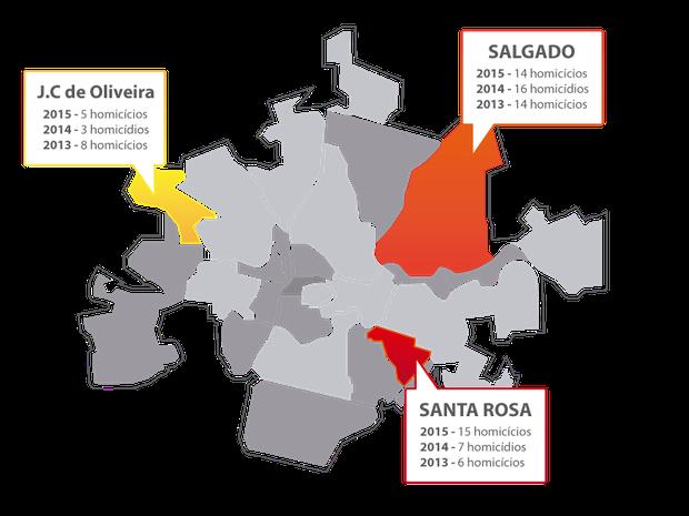 Mapa dos homicídios por bairro, em Caruaru (Foto: Arte/TV Asa Branca)