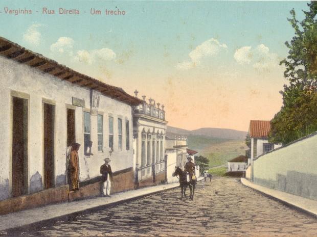 Antiga Rua Direita, atual Rua Antônio Carlos, no Centro de Varginha (Foto: Coleção Dr. Paulo Greco/Fundação Cultural de Varginha)
