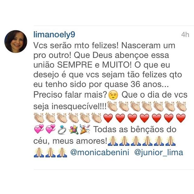 Noely sobre o casamento de Junior Lima e Monica Benini (Foto: Reprodução/ Instagram)