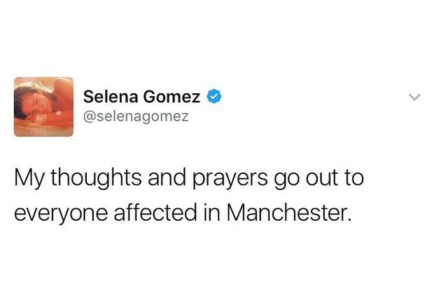 """Selena Gomez: """"Meus pensamentos e minhas orações estão com todos aqueles afetados em Manchester."""" (Foto: Twitter/Reprodução)"""