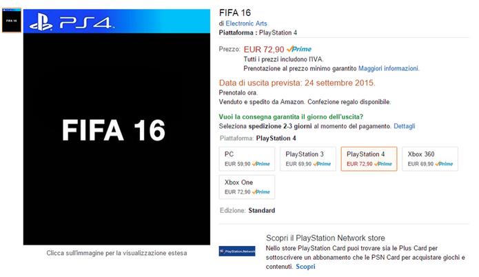 Fifa 16 aparece listado na Amazon da Italia (Foto: VG247)