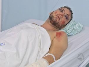 Rafael Bergman se recupera do acidente em hospital (Foto: Reprodução/TVCA)
