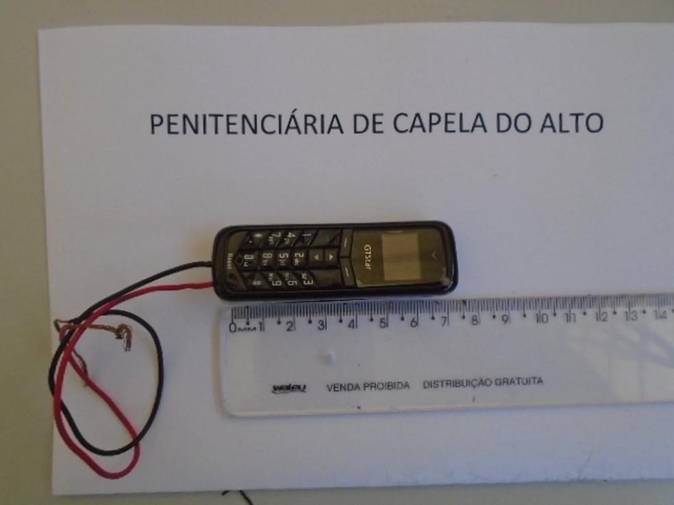 Microcelular estava escondido nas partes ínitmas da visitante (Foto: SAP/Divulgação)