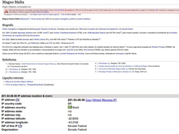 Página foi editada por computador do Senado e descrição negativa retirada (Foto: Reprodução/ Wikipedia)