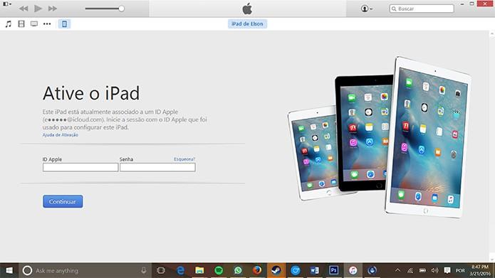 iTunes pedirá login e senha do Apple ID do usuário para ativar dispositivo (Foto: Reprodução/Elson de Souza)