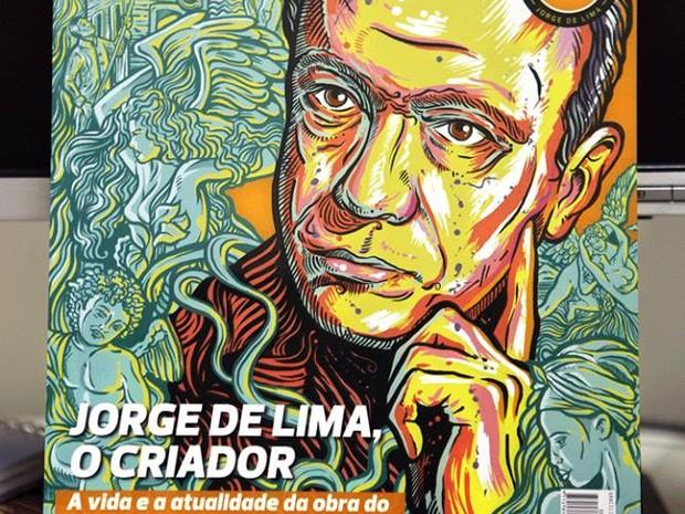 Suarez também desenhou o escritor Jorge de Lima para a revista Graciliano.  (Foto: Arquivo Pessoal/Cristiano Suarez)