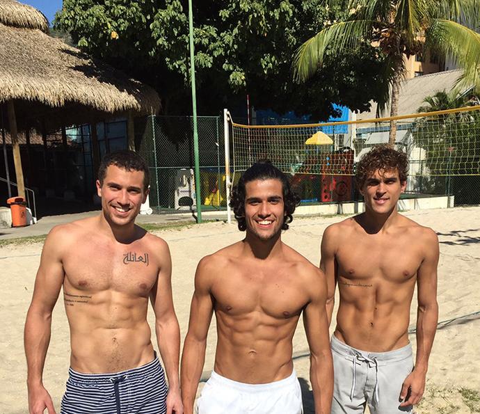 Ricardo Vianna, Fábio Scalon e Felipe Roque em um dos treinos (Foto: Reprodução)