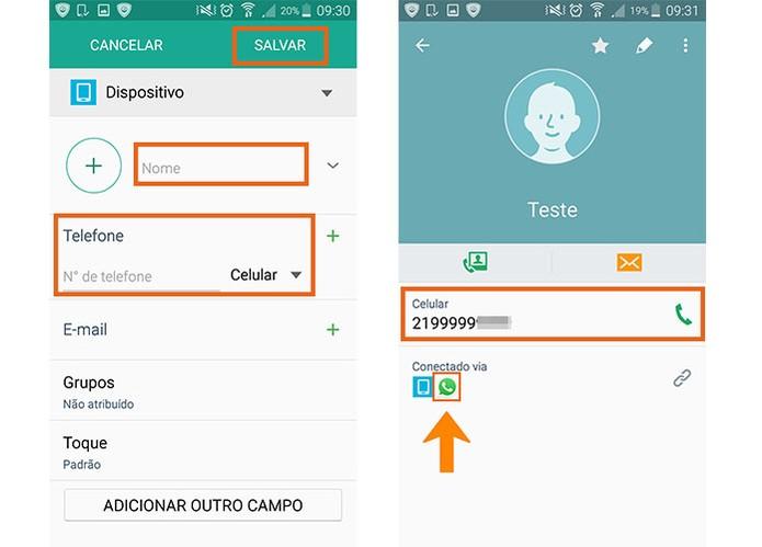 Adicione o contato com o número de celular no Android (Foto: Reprodução/Barbara Mannara)