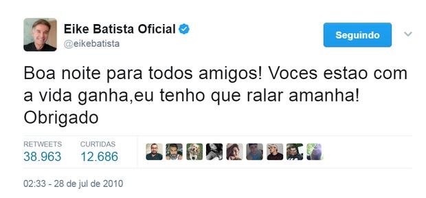 Tweet de Eike Batista (Foto: Reprodução/Twitter)