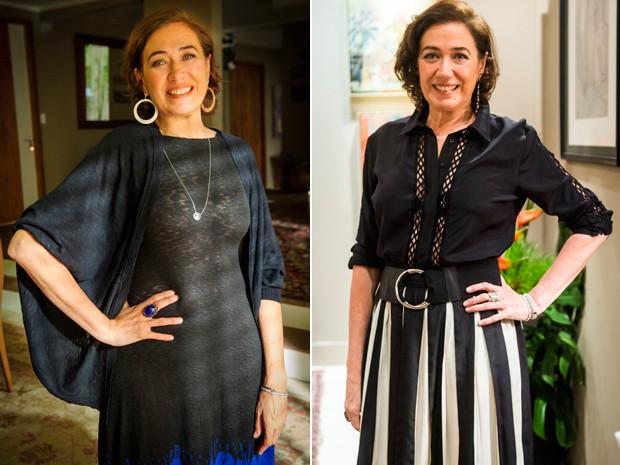 Cores escuras nas roupas e acessórios claros são os preferidos de Marta (Foto: Alex Carvalho / João Miguel Jr. / TV Globo)