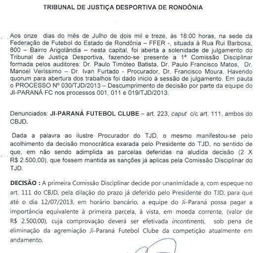 1ª Comissão Disciplinar do TJD-RO optou por dar um novo prazo ao Galo (Foto: Reprodução/FFER)