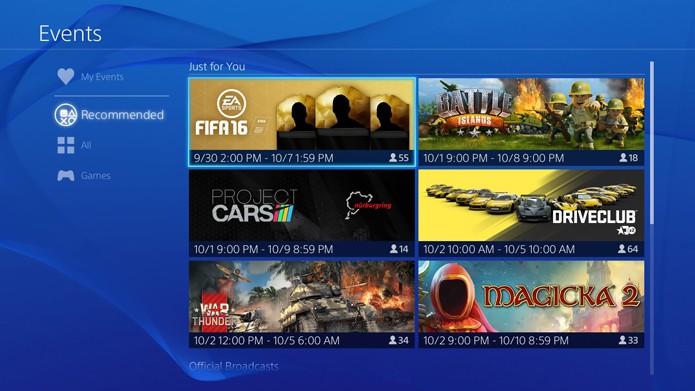 Lista com alguns eventos já listados na PSN (Foto: Reprodução/André Mello)