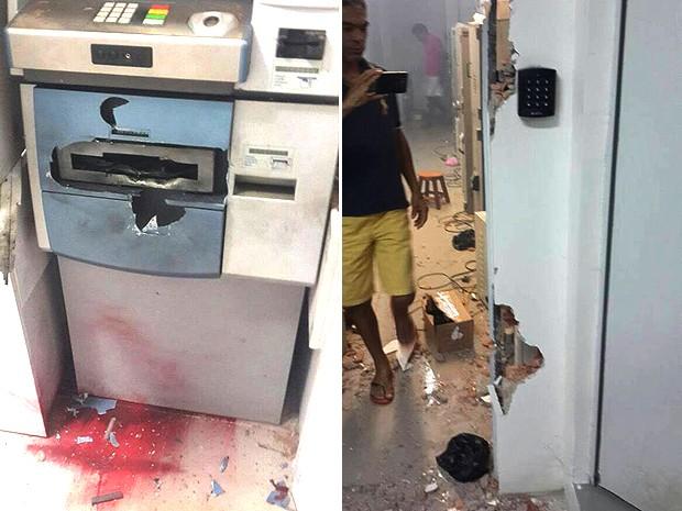 Caixas e cofre foram danificados pelos criminosos (Foto: Divulgação/15º BPM)