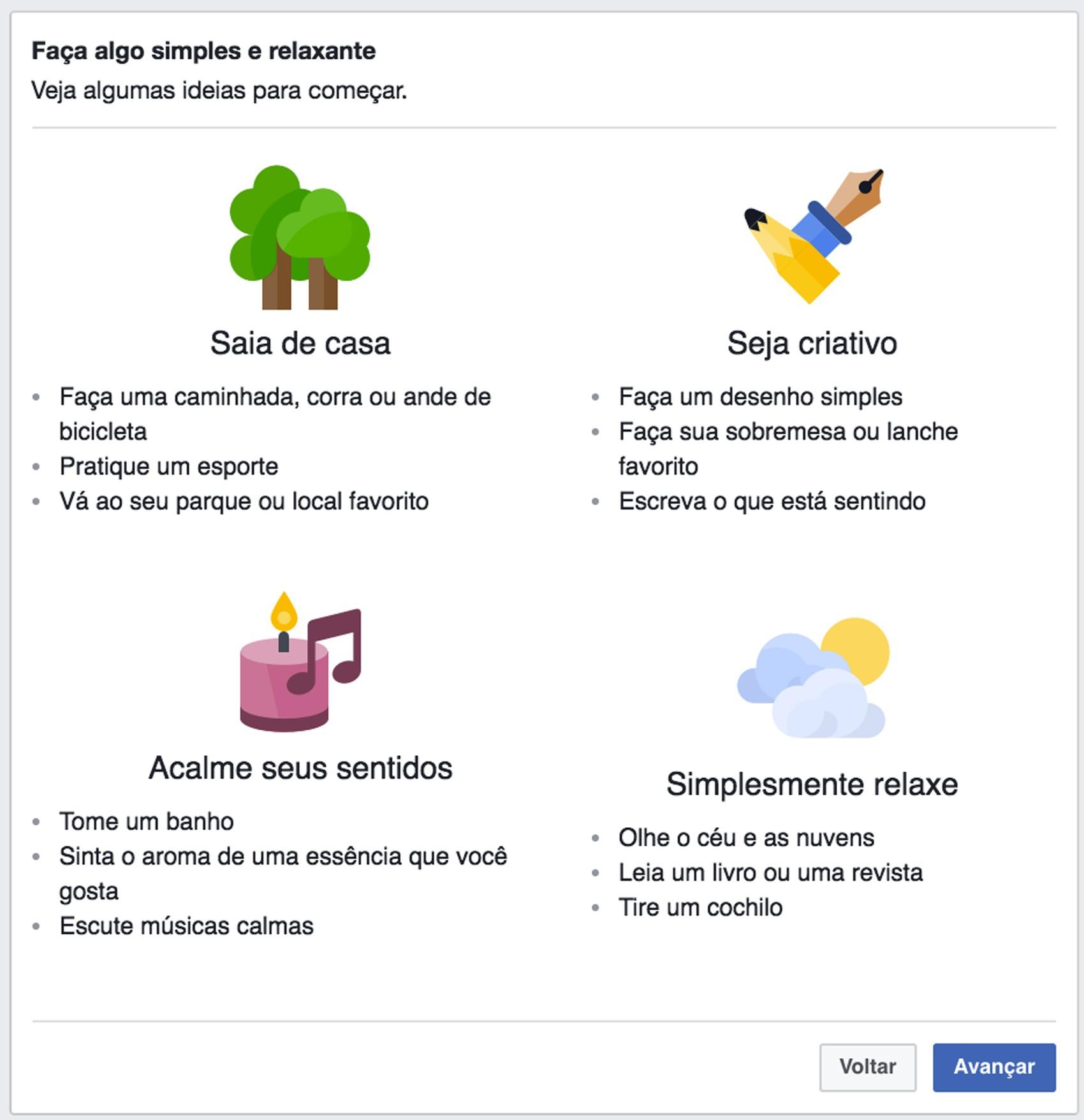 Facebook dará dicas do que fazer para se sentir melhor (Foto: Reprodução/Facebook)