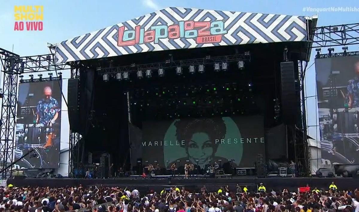 A banda Vanguart abriu o Lollapalooza 2018 com uma homenagem a vereadora Marielle Franco (Foto: Reproduo)