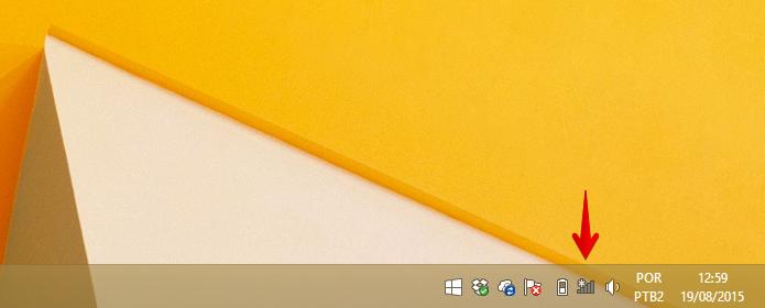 Clique sobre o ícone de rede Wi-Fi (Foto: Reprodução/Helito Bijora)