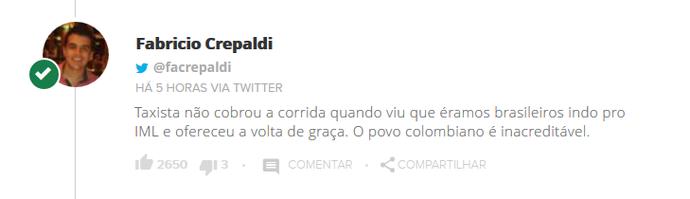 Tweet de Fabrício Crepaldi (Foto: Reprodução)