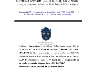 River-PI é multado pelo STJD por atraso no início da partida contra Sport