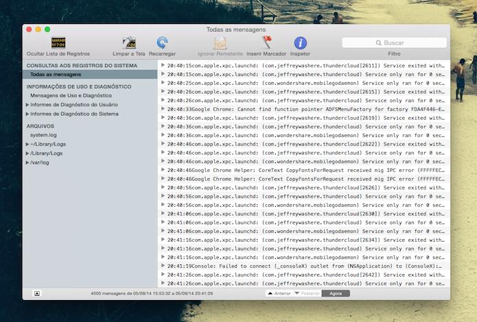 Ferramenta Console do Mac OS X (Foto: Reprodução/Marvin Costa)