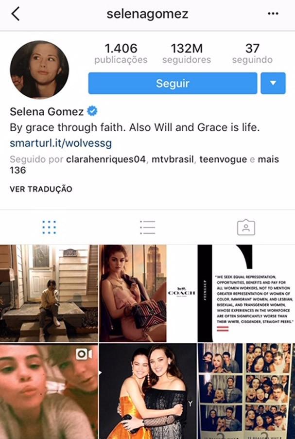 Perfil de Selena Gomez (Foto: Reprodução/Instagram)