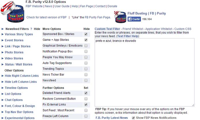 Extensão para navegadores permite bloquear conteúdo no Facebook (Foto: Reprodução/Aline Jesus)