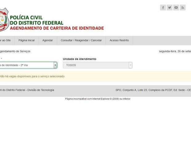 Página da Polícia Civil demonstra aviso de que não há vagas disponíveis para agendamento de carteira de identidade no DF (Foto: Polícia Civil/Reprodução)