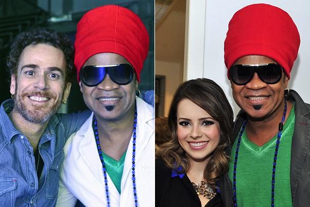 Carlinhos Brown bem na foto com Nando Reis e com Sandy durante a gravação da música 'Vem Aí na Globo' (Foto: Reinaldo Marques/Rede Globo)