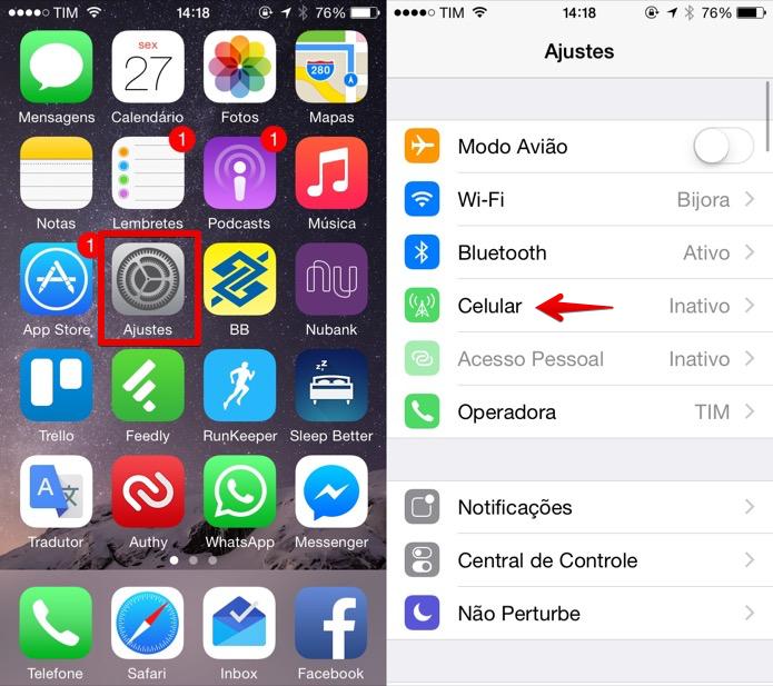 Acesse as configurações do iPhone (Foto: Reprodução/Helito Bijora)  (Foto: Acesse as configurações do iPhone (Foto: Reprodução/Helito Bijora) )