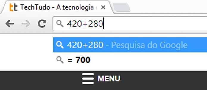 Barra de endereços pode ser usada como calculadora (foto: Reprodução/Chrome)