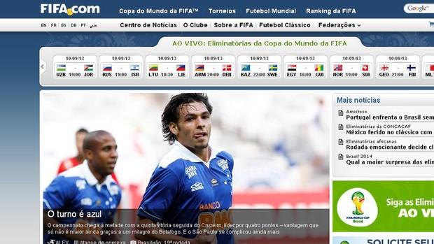 Print Cruzeiro site FIFA (Foto: Reprodução)