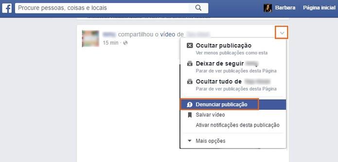 Selecione o post para fazer a denúncia no Facebook (Foto: Reprodução/Barbara Mannara)