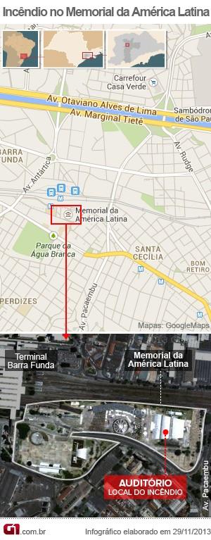 Mapa incêndio Memorial da América Latina (Foto: Arte/G1)