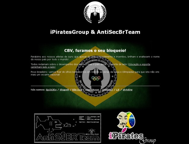 Site da Confederação Brasileira de Vôlei é invadido por hackers Volei